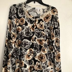 Charter Club floral cardigan with pearl collar